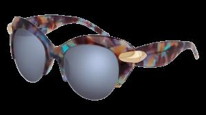 Margaspalviai saulės akiniai su mėlynais lęšiais