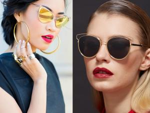 Moterys su aukso spalvų saulės akiniais