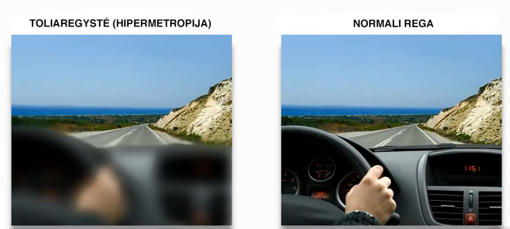 Toliaregio vairuotojo vaizdas dieną (be akinių ar lęšių)